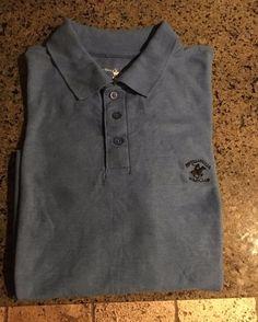 Men's BEVERLY HILLS POLO CLUB Golf Shirt - Aegean Blue - Size XXL…