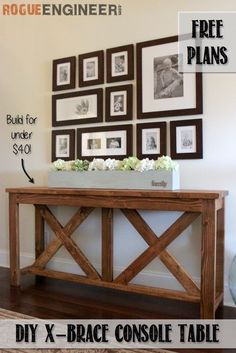 DIY X-brace Console Table- FREE DIY PLANS  | rogueengineer.com #XbraceConsoleTable #DiningroomDIYplans