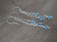 Sterling Silver and Swarovski Crystal Earrings  - 3-316 by PurpleRavenBoutique on Etsy