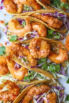 Bang Bang Shrimp Tacos - Super crisp shrimp tacos drizzled with the most amazing and epic sweet creamy chili sauce. It'll be hard to just stop at or food recipes Bang Bang Shrimp Tacos - Damn Delicious Fish Recipes, Seafood Recipes, Mexican Food Recipes, Dinner Recipes, Cooking Recipes, Healthy Recipes, Dinner Ideas, Cooked Prawn Recipes, Mexican Recipes