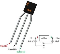 The is a three terminal voltage regulator. The three terminals are Input, Output and ground as shown in the pinout diagram. Electronic Circuit Projects, Electrical Projects, Arduino Projects, Electrical Wiring, Electrical Engineering, Electronics Basics, Electronics Components, Electronics Projects, Electronic Schematics