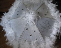 "SPARKLY Wedding Second Line Umbrella- MEDIUM 14"" size- GOLD accents- hand painted fleur de lis, sequins and boa"