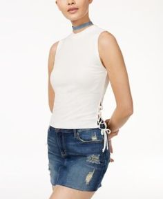 American Rag Juniors' Lace-Up Crop Top, Only at Macy's - Tan/Beige XXS