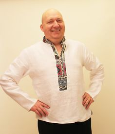 Linen Men's shirt 'Buba White' by oriwodesign on Etsy