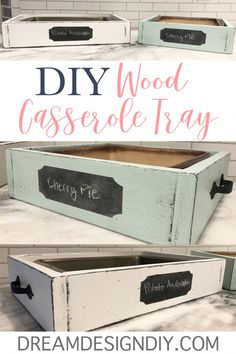 Make your own DIY Wood Casserole Tray. This wooden tray is the perfect size to f… Make your own DIY Wood Casserole Tray. This wooden tray is the perfect size to fit a 9 x 13 or 9 x 9 dish. Display your food at home or when you bring a dish to a friends … Wine Bottle Crafts, Mason Jar Crafts, Mason Jar Diy, Scrap Wood Projects, Woodworking Projects, Woodworking Furniture, Scrap Wood Art, Woodworking Clamps, Furniture Projects