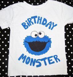 1st 2nd 3rd 4th 5th Birthday Monster Short Sleeved Shirt, Cookie Monster, Sesame Street Inspired. $12.99, via Etsy.