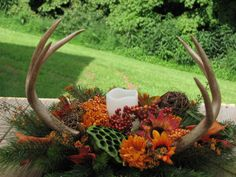 Real Deer Antler Silk Flower Arrangement for by TheVineDesigns
