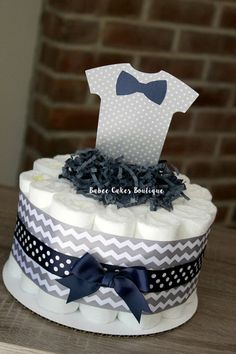 Large Single Navy & Gray Onesie Bow tie Little Man Diaper Cake, Boy Baby Shower, Onesie Shower Decor, Navy and Grey Centerpieces, Bow Tier