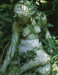 The reason why the Agazel Kingdom is lost is due to a curse that turned all the civilians into stone. Overgrown stone statues are found throughout the environments. Dream Garden, Garden Art, Moon Garden, Garden Statues, Garden Sculpture, Purple Home, Beltane, Garden Ornaments, Wabi Sabi