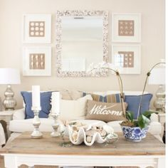 Read all about my new DIY oyster shell mirror in the living room today on the blog #ontheblog #linkinbio #starfishcottage #diy #coastalliving #seashells #followfriday #follow by starfish_cottage_blog