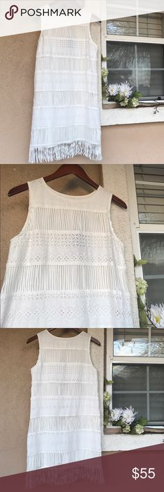 """Revolve J.O.A. Dress Beautiful dress in White Lace and fringe throughout to bottom hem. Perfect for this summer. 35"""" long including bottom fringe & 34"""" bust. New never worn W/Tags. No Trades. Accepting Offers  REVOLVE Clothing / J.O.A. Dresses"""