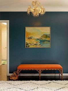 Bold and beautiful blue and orange entryway, by Redmond Aldrich Design of Decorist, photographed by Matthew Millman. *Color inspiration for Living Room Room Colors, Wall Colors, Paint Colors, Foyer Decorating, Interior Decorating, Decorating Tips, Decorating Websites, Interior Inspiration, Room Inspiration
