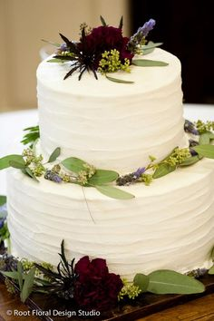 Wedding Cake Flowers | Colors: Ivory, Maroon, Dark Purple, Green | Lavender, Carnations, Thistle, Seeded Eucalyptus