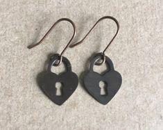 Lock Heart Charm Dangle Earrings