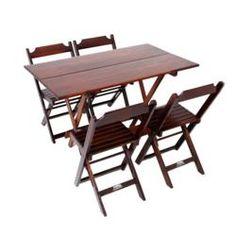 Conjunto Mesa 120x70 Cm 4 Cadeiras Dobrável Madeira Cor Imbuia (Tabaco) - Cia Bistrô