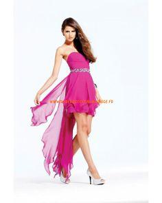 Robe sans bretelle pourpre traîne asymétrique cristaux mousseline robe de soirée 2013
