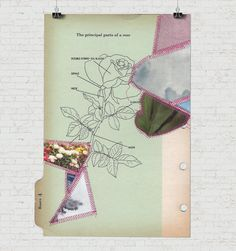 Living Things Four - paper quilt / sewn collage on vintage binder divider
