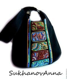 """Купить Сумка """"Восточная"""" - черный, сумка тканевая, сумка из ткани, джинсовая сумка, черная сумка"""