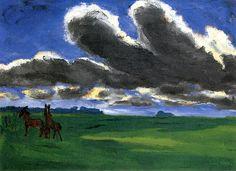 Landscape with Young Horses Emile Nolde - 1916