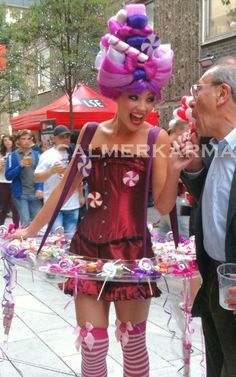 'Wonka Bonkers' candy hostess designed to work with all kinds of parties and corporate events especially Charlie and the Chocolate Factory themed events. 'Wonka Bonkers' can be used as a fun walkablut candy girl or as a canape feature as your guests arrive.