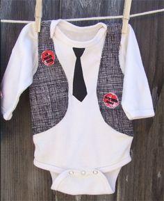 vest and tie onesie