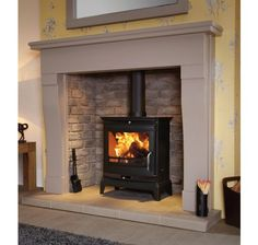 The Rochester Multi Fuel Stove in Black by Flavel Inset Fireplace, Wood Burner Fireplace, Inglenook Fireplace, Fireplace Surrounds, Fireplace Design, Gas Stove Fireplace, Fireplace Ideas, Gas Wood Burner, Wood Stove Surround