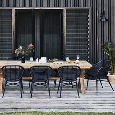 earlysettler Reclaimed Teak Cross Leg Table with 8 Cera Dining Chairs Package - Natural Collection - Shop by Collection - Outdoor Wicker Dining Chairs, Outdoor Tables And Chairs, Outdoor Dining Set, Patio Dining, Patio Chairs, Outdoor Rooms, Outdoor Shop, Dining Sets, Black Dining Chairs