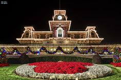Train station at Christmas...EVERYTHING in Disney World is more beautiful at Christmas time!!