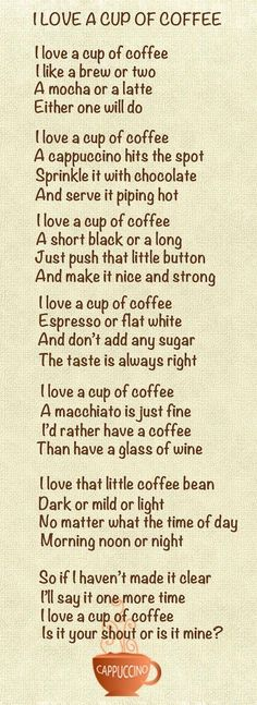This is a cute little poem.. all true EXCEPT the wine part of course...enjoy both equally as much. :)