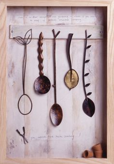 Diana Greenwood - Spoons For The Garden Ceramic Spoons, Wooden Spoons, Contemporary Spoons, Love Spoons, Metal Bowl, Find Objects, Wire Art, Box Art, Pottery