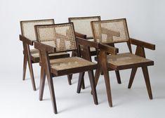 Rohrgeflecht Lehnstühle von Pierre Jeanneret, 1950er, 4er Set 1