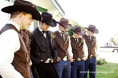 *sigh* Country wedding men's attire! :D Cowboy hats, boots, belts, even straw/wheat in the boutonnières - now this is a country themed wedding!