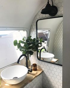 Airstream Bathroom Renovation — hex tile wall and beautiful faucet and sink. #bathroomrenovations