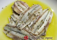 Great recipe for Gavros (anchovies) in vinegar. A delicious snack to accompany our ouzo or tsipouro. Recipe by christina. Greek Recipes, Fish Recipes, Seafood Recipes, Snack Recipes, Cooking Recipes, Greek Cooking, Easy Cooking, Greek Appetizers, Homemade Spices