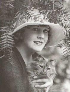 Edna Purviance, actress, w/ her cat