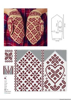 Beautiful gloves with jacquard . Discussion on LiveInternet - Russian Service Online Diaries Knitted Mittens Pattern, Fair Isle Knitting Patterns, Knitting Charts, Knit Mittens, Knitting Stitches, Knitting Socks, Crochet Patterns, Bonnet Crochet, Knit Crochet