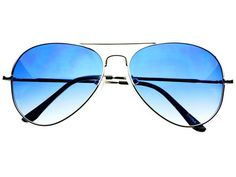 Blue Lens Metal Aviator Sunglasses Silver A811