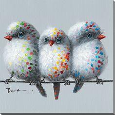 Peinture à l'huile avec image d'oiseaux