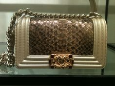 chanel gold python boy bag fall 2012