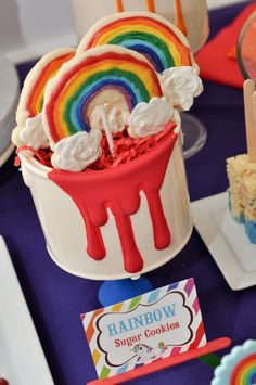 Rainbow Unicorn Art Party with SO MANY FABULOUS IDEAS via Kara's Party Ideas   KarasPartyIdeas.com   Printables, favors, cakes, games, and more! #rainbow #rainbowartparty #unicornparty #artparty #rainbowparty #partydecor #partydesign #partyideas (30)