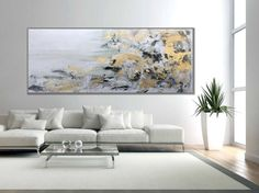 Gold White Abstract Painting Modern Art Wall Decor Painting