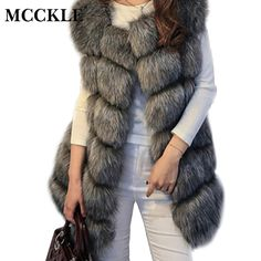 dfe3898e532e MCCKLE High Quality Fur Vest Coat Luxury Faux Fox Warm Women Coats Vest  Winter Fashion Fur Women's Coat Jacket Vest 4XL Fur Coat-in Faux Fur from  Women's ...