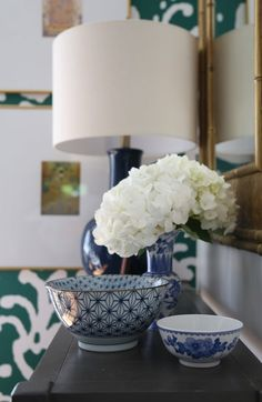 Our Green and White Kitchen Renovation, blue, white, bowls, fresh flowers, entry - Emily A. Clark