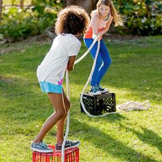 Save time by not setting up fancy party games. Toppling Tug-of-War is so much fun and doesn't require tons of prep!