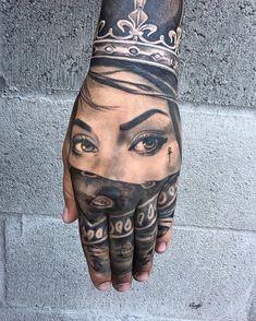 Tu recepcja — Tha art of Chase Tafoya via eiruvsq Gangster Tattoos, Chicano Tattoos, Dope Tattoos, Badass Tattoos, Body Art Tattoos, Tribal Tattoos, Sleeve Tattoos, Portrait Tattoo Sleeve, Skull Hand Tattoo