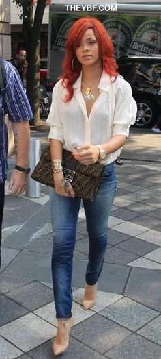 peach blouse and jeans