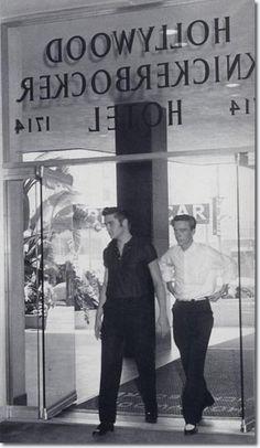Elvis entering the Knickerbocker Hotel, Hollywood. 1956.