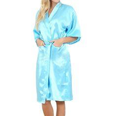 SJINC Women's Silk Bathrobes Solid Kimono Knee Length Lingerie Bridal Satin Robe at Amazon Women's Clothing store: