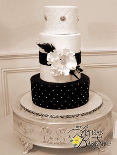 Black & White Old Hollywood Wedding Cake