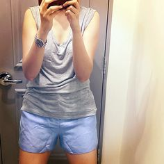 July in a Jiffy: Sky Blue 'Perfect Fit' Linen Shorts at #Forever21 www.akanksharedhu.com